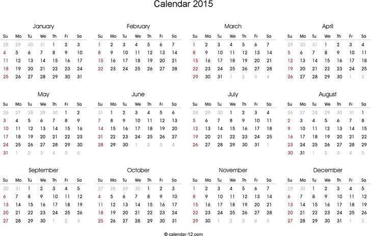 2015 Blank Calendar in Landscape Format