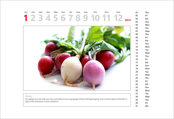 2015 Online Office Photo Calendar Template