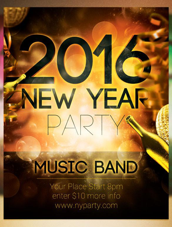 2016 New Year Band Party Flyer Template PSD Design