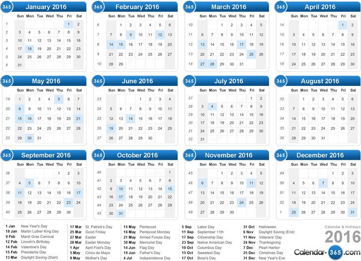 2016 Yearly Calendar 3