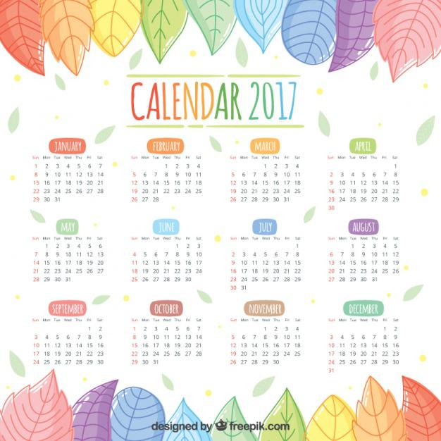 2017 Calendar Of Beautiful Hand-Drawn Colored Leaves