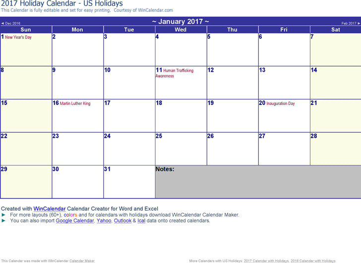 2017 Monthly Calendar 3