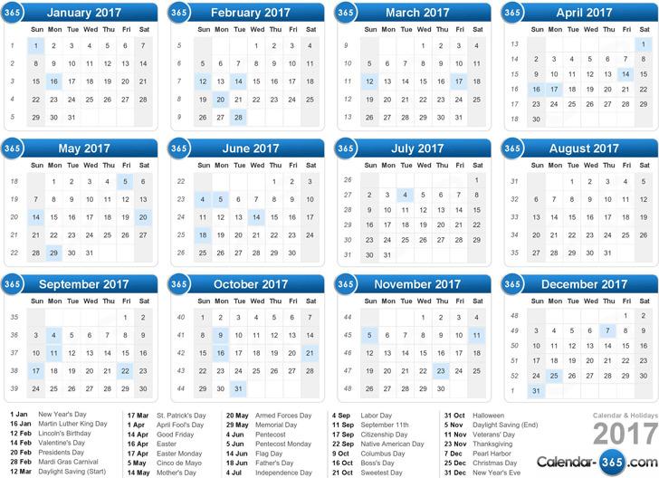 2017 Yearly Calendar 2