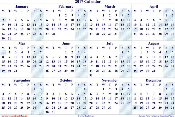 2017 Yearly Calendar 3