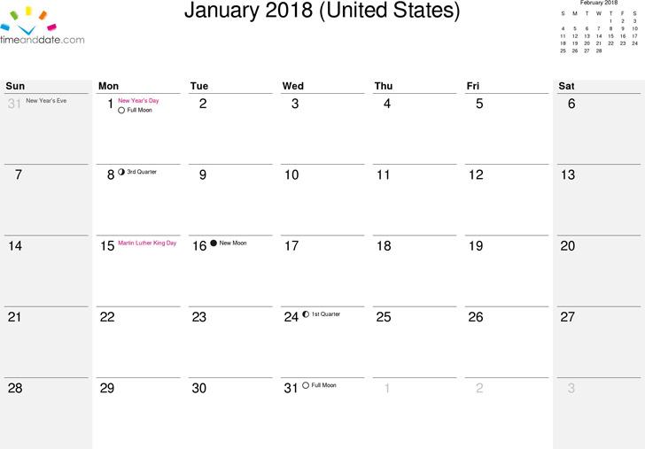 2018 Monthly Calendar 3