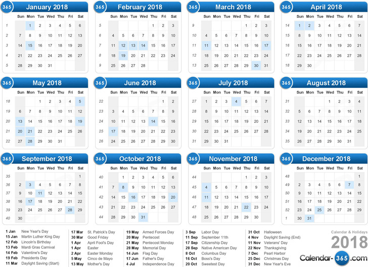 2018 Yearly Calendar 2
