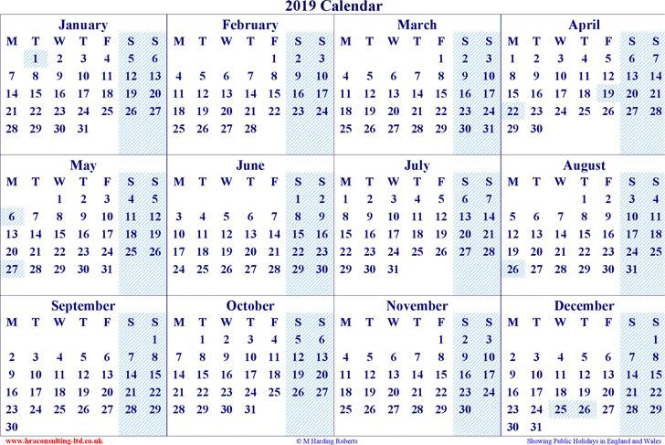 2019 Yearly Calendar 2