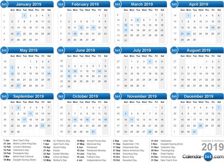 Yearly Calendar 2019 | Download Free & Premium Templates ...