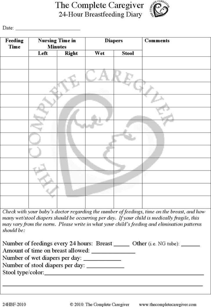 24 Hour Breastfeeding Diary Schedule Template Pdf Download