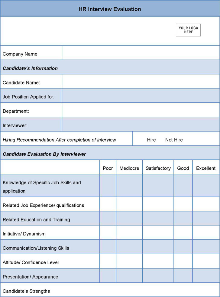 Sample Hr Evaluation Forms & Examples | Download Free & Premium