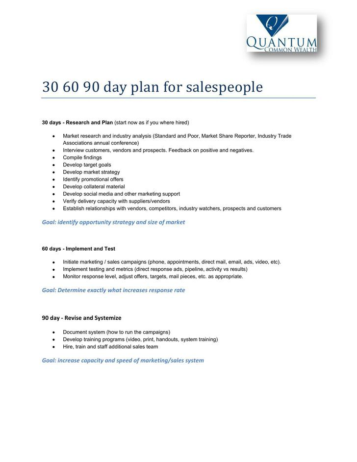 30 60 90 Day Sales Action Plan Example Download