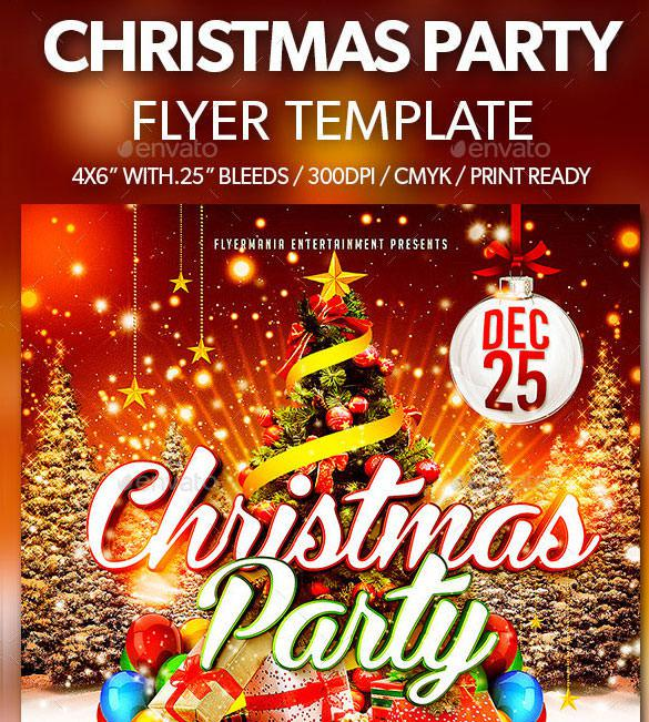 3D Christmas Party Flyer Template in PSD File