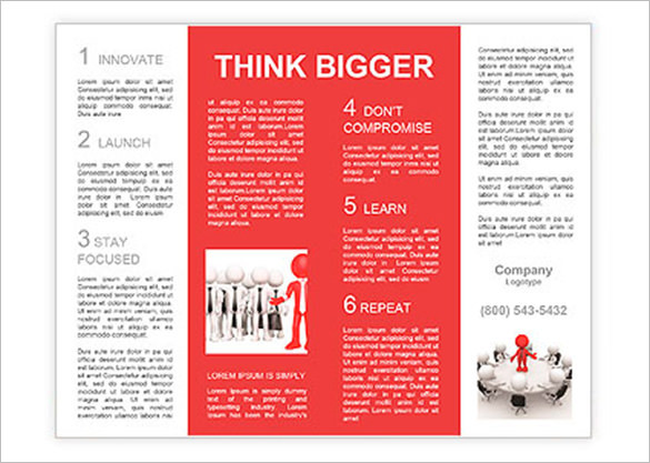 3D People - Men, Person at Conference Table. Leadership and Team Brochure Template