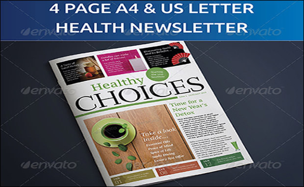 4 Page A4 and US NewsLetter Healthy Living