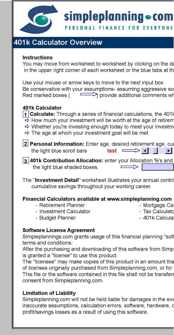 401K Calculator 3