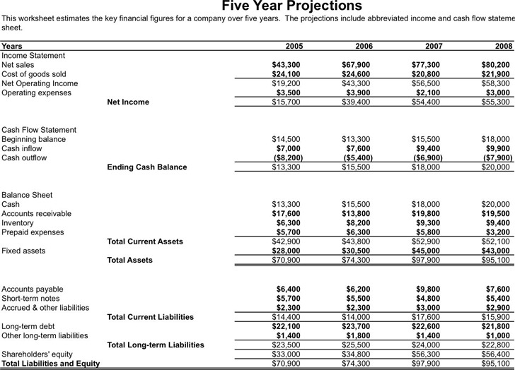 5 Year Business Financial Projections