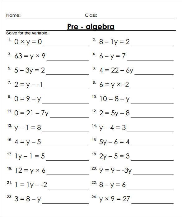 7th Grade Pre Algebra Worksheet