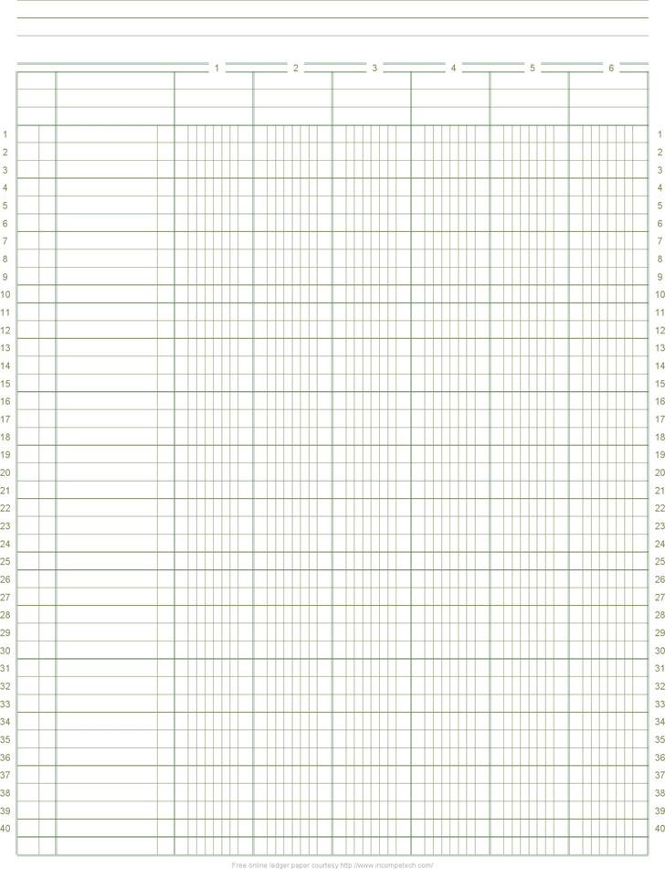 free ledger paper