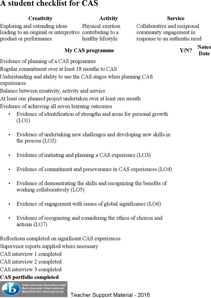 A Student Checklist For Cas