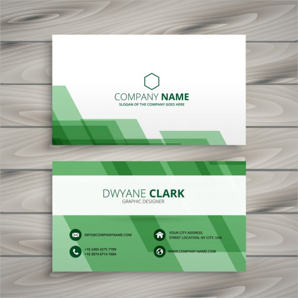 Abstract green business card Free Vector