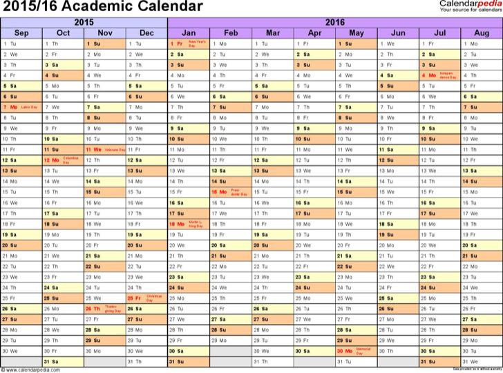 Academic Calendar 2015 16 In Microsoft Excel