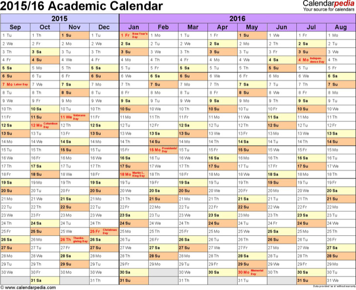 Academic Calendar 2015 16 In Microsoft Word