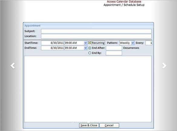Access Calendar Scheduling Template