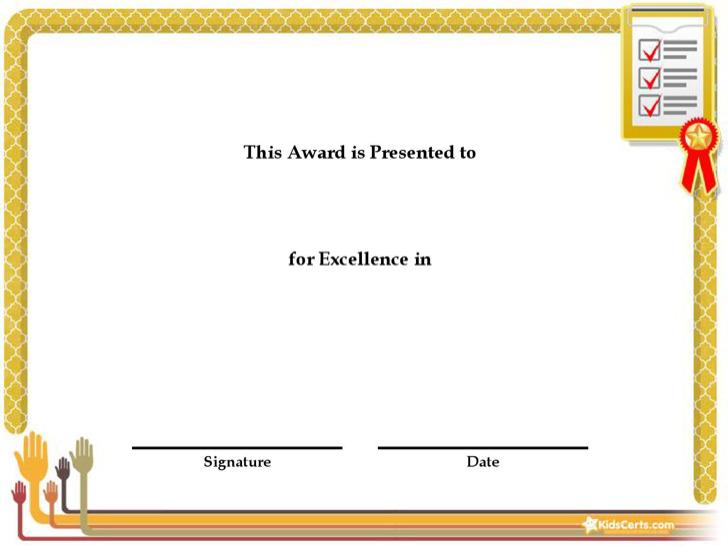 Achievement Award Certificate Template