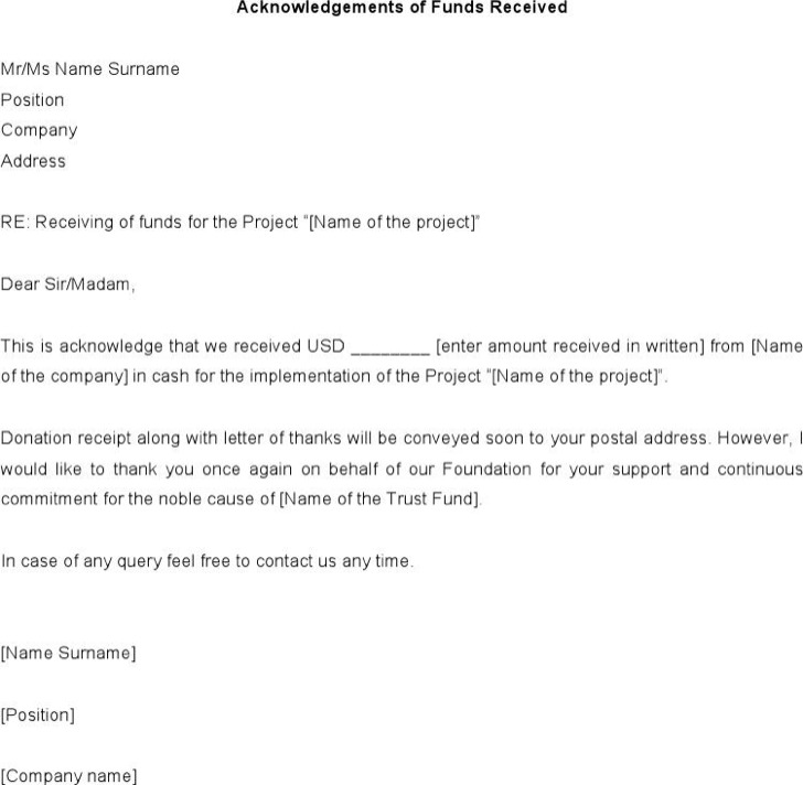 Acknowledgement Letter Templates – Sample Letter of Acknowledgement Receipt of Payment