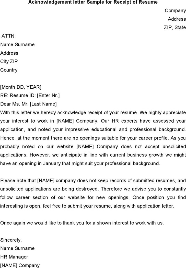 Acknowledgement Letter Sample For Receipt Of Resume