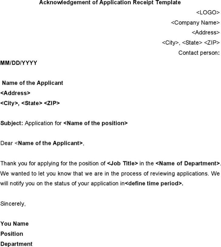 Acknowledgement Of Application Receipt Template