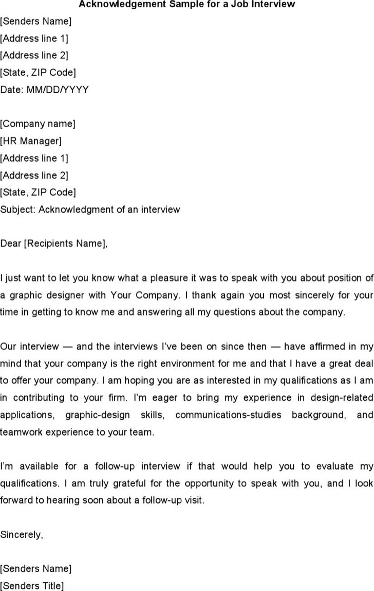 Acknowledgement Sample For A Job Interview