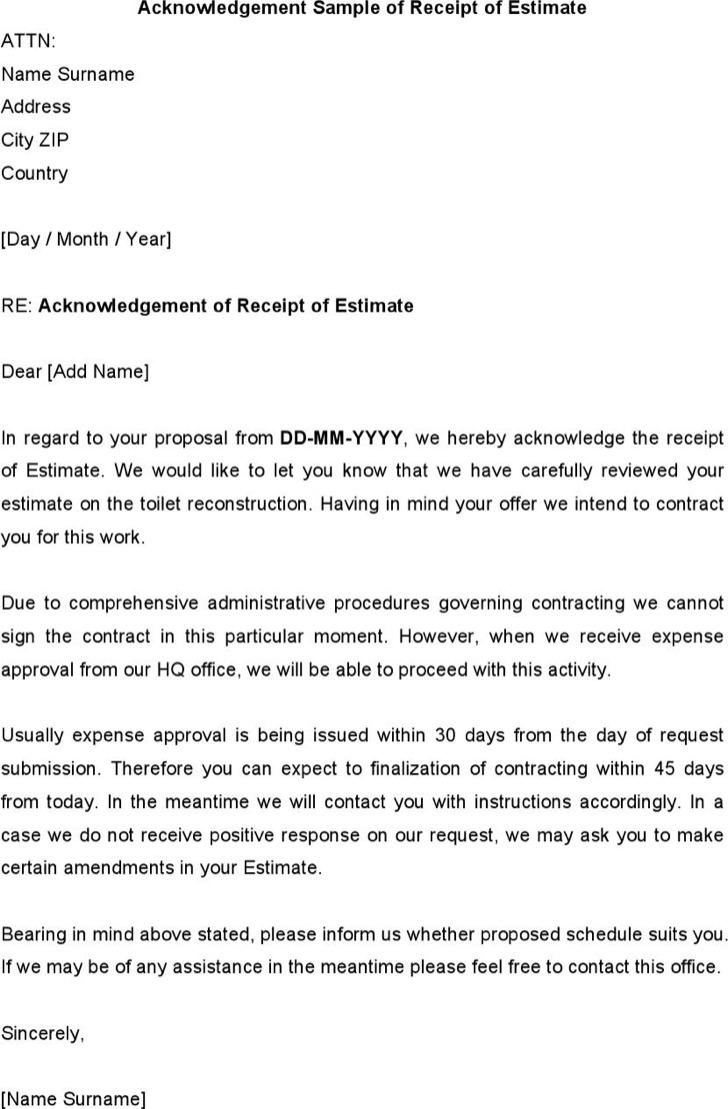 acknowledgement letter templates download free premium