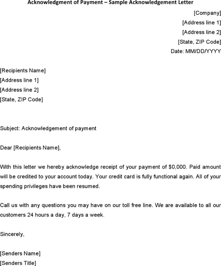 Acknowledgement Receipt Letter Template.31 Acknowledgement Letter Templates Free Download