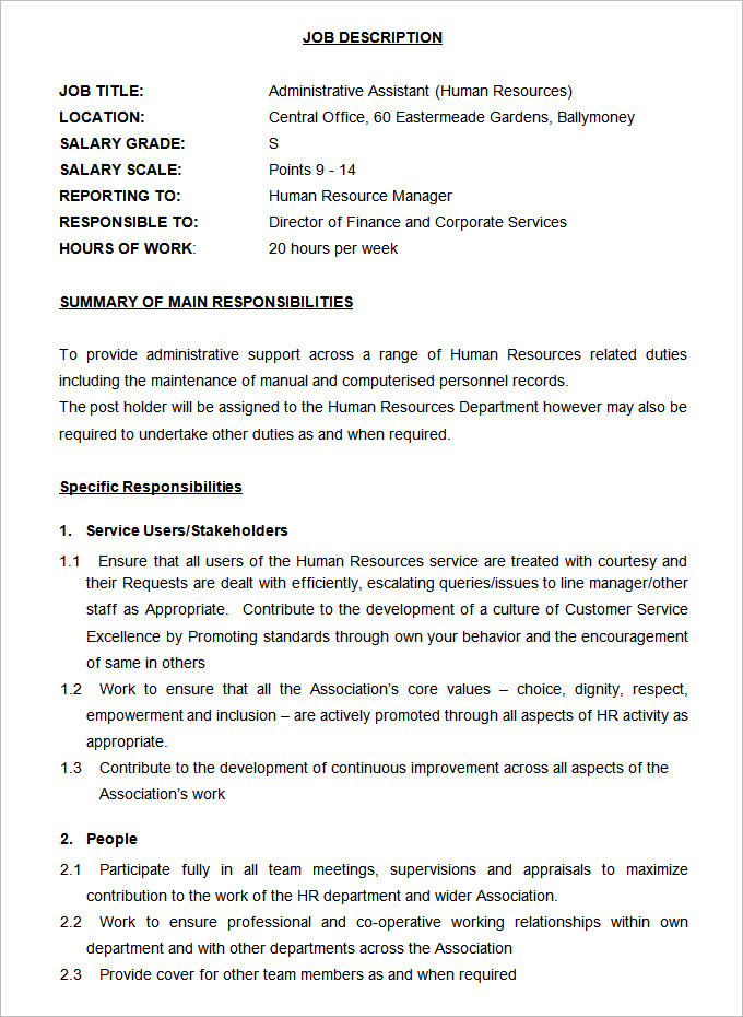 Administrative Assistant Job Description Template (Human Resources)