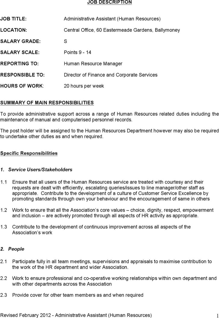 Word Job Description Templates – Job Description Template Word