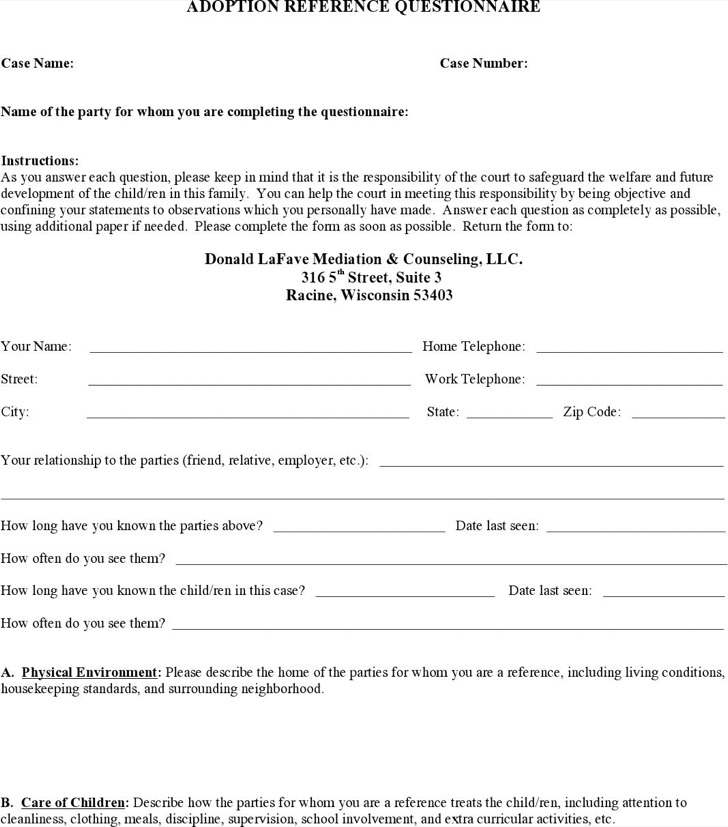 Character Design Questionnaire : Sample adoption reference letter templates download free