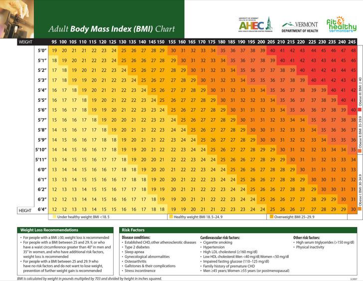 Adult Body Fat Mass Index Chart Sample