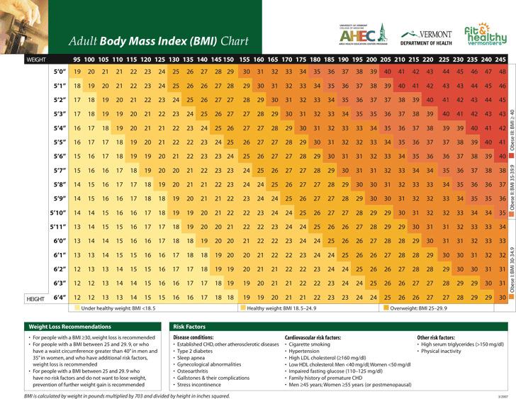Adult Body Mass Index (BMI) Chart