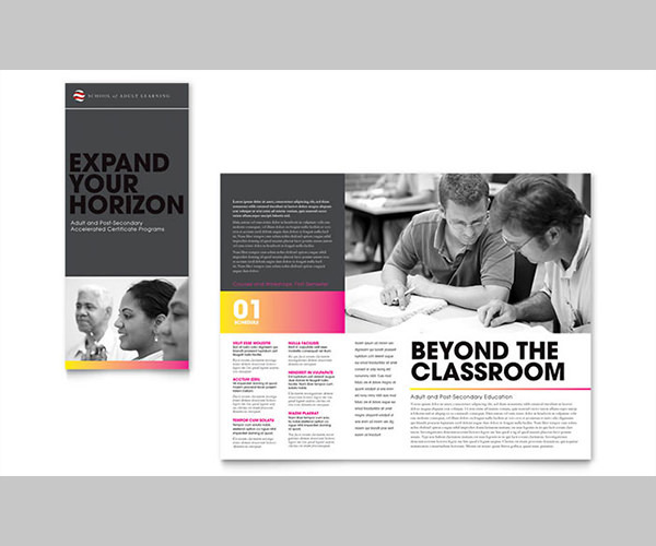 adult education business school tri fold brochure template