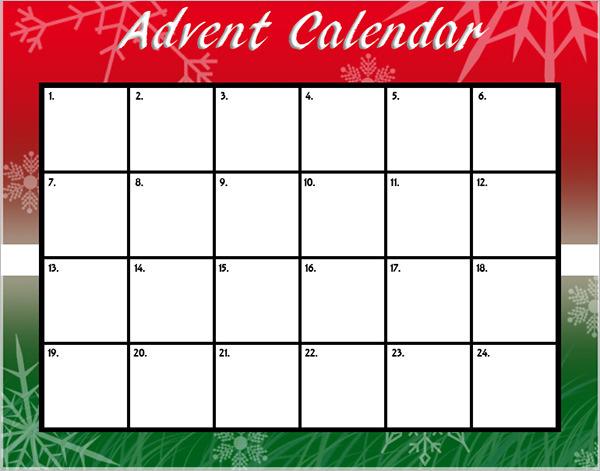 Advent Event Calendar Template
