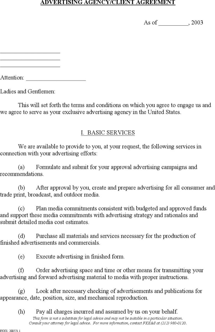 advertising contract templates premium templates advertising agency contract template