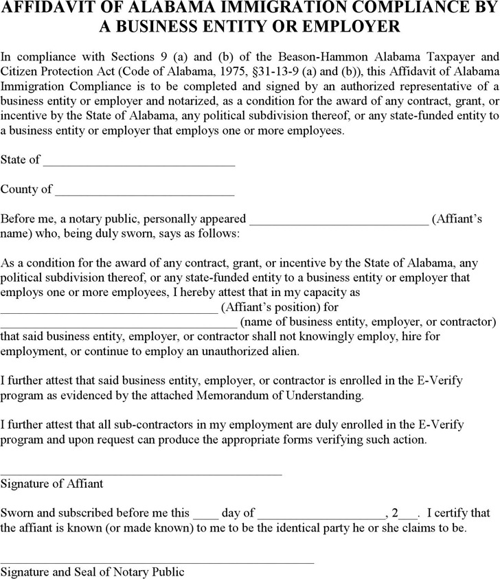 Affidavit of Alabama Immigration Compliance by a Business Entity or Employer