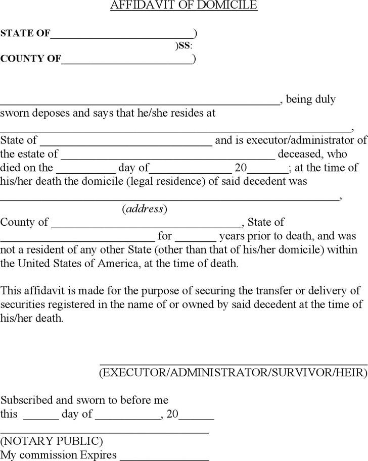 Affidavit Formats