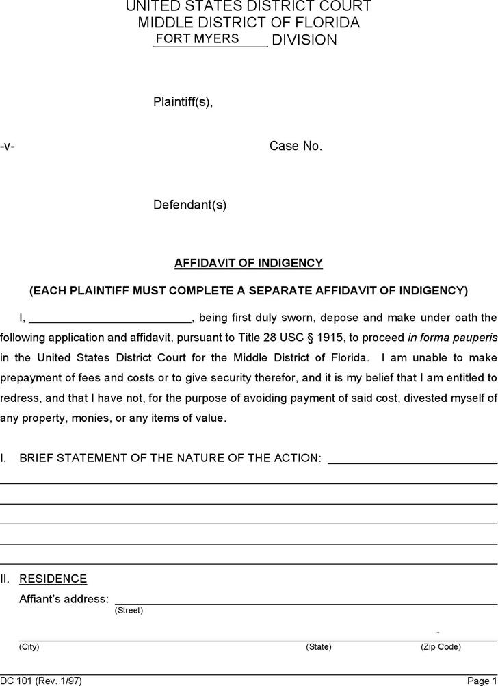 Affidavit of Indigency 1