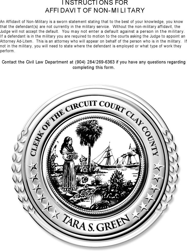 Affidavit of Non-military Service