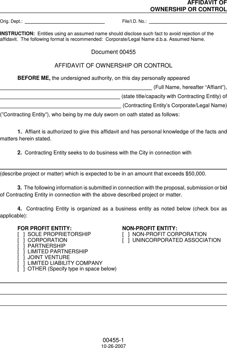 Affidavit of Ownership | Download Free & Premium Templates, Forms ...