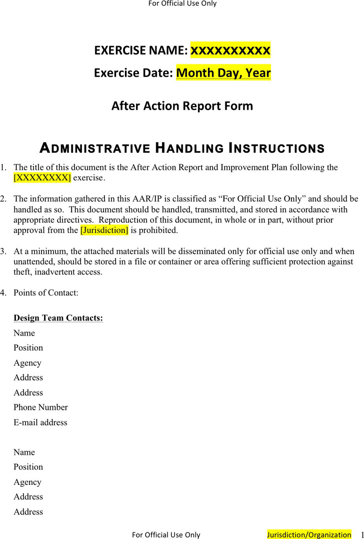 After Action Report Template 1