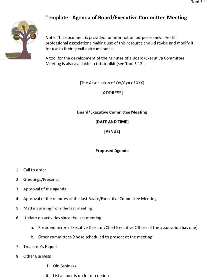 Committee Meeting Agenda Templates  Download Free  Premium