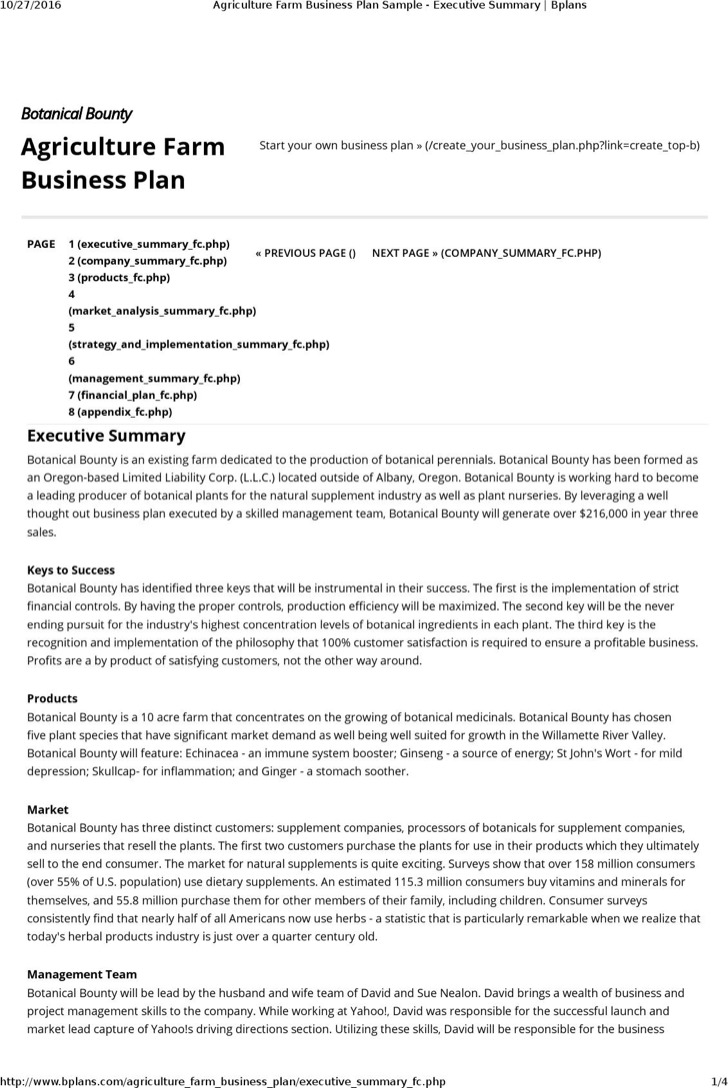 7 Farm Business Plan Templates Free Download